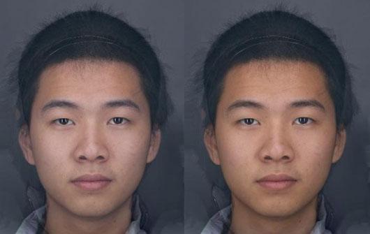 Ảnh một sinh viên nam được theo dõi trong vòng 6 tuần bắt đầu với màu da phía bên trái và chuyển sang màu vàng khỏe mạnh hơn (bên phải) do cải thiện chế độ ăn chăm sóc da nhiều rau & trái cây