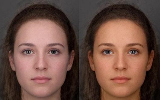 Ảnh so sánh một sinh viên nữ được theo dõi trong vòng 6 tuần bắt đầu với màu da phía bên trái và chuyển sang màu vàng khỏe mạnh hơn (bên phải) do cải thiện chế độ ăn chăm sóc da nhiều rau & trái cây