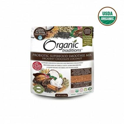 Lợi khuẩn cho đường ruột và hệ tiêu hóa Probiotic Organic Traditions vị chocolate & dừa 200g 1