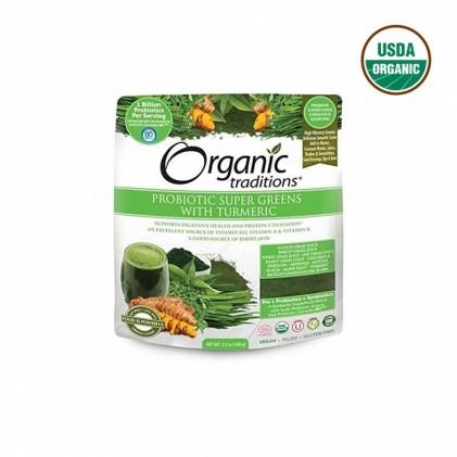 Bột lợi khuẩn hữu cơ Organic Traditions Super Green 100g 1