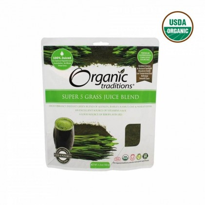 Hỗn hợp 5 loại cỏ non hữu cơ Organic Traditions Super 5 Grass Juice Blend