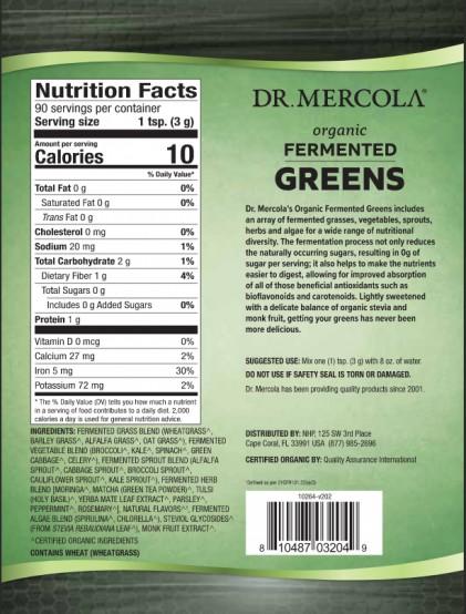 Hỗn hợp rau & tảo lên men Dr Mercola Organic Fermented Greens 2