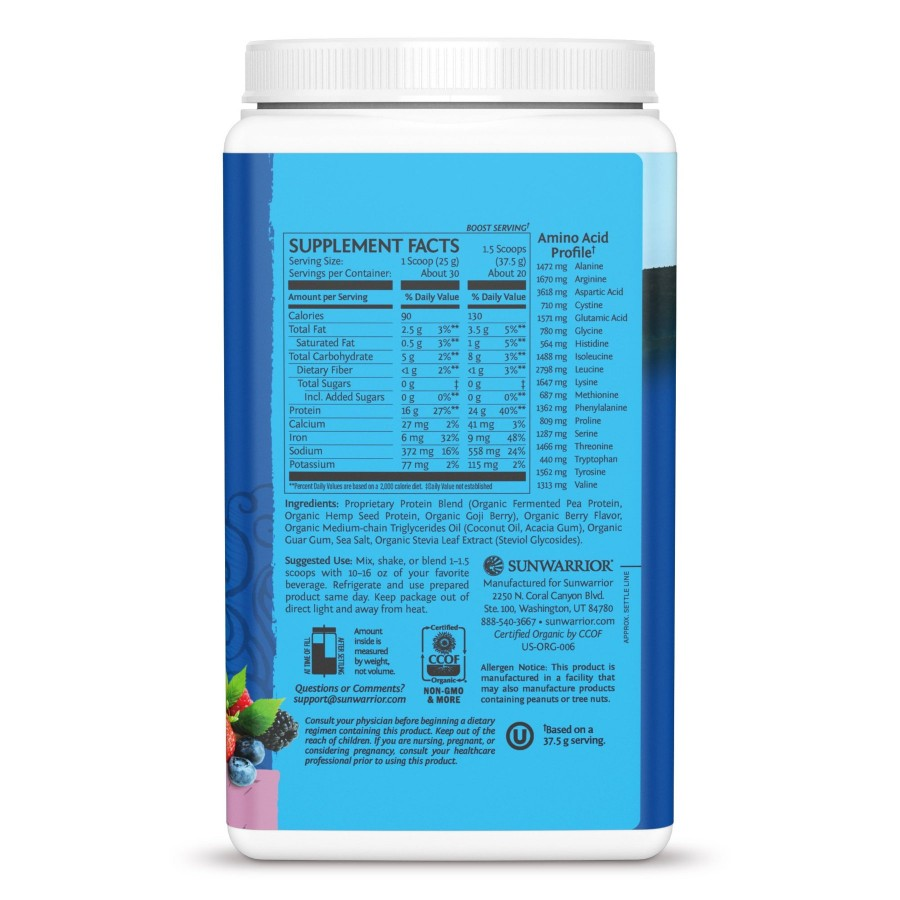 Bột protein thực vật hữu cơ Sunwarrior Warrior Blend 20