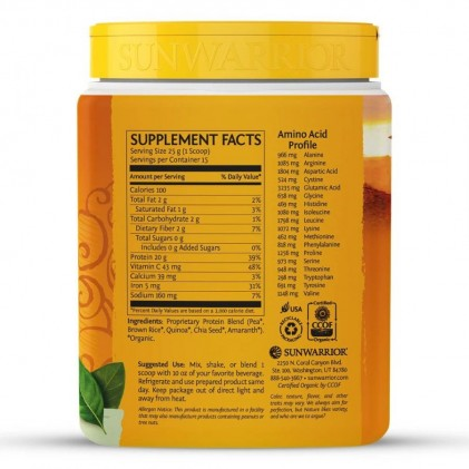 Bột protein thực vật hữu cơ Sunwarrior Classic Plus 8
