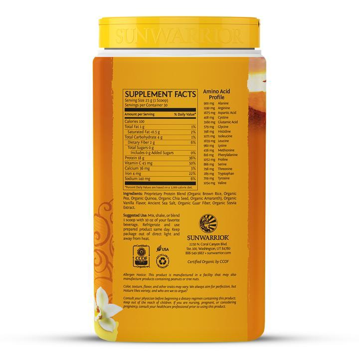 Bột protein thực vật hữu cơ Sunwarrior Classic Plus 20