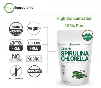 Viên tảo spirulina và chlorella hữu cơ Micro Ingredients 3
