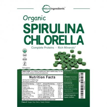 Viên tảo spirulina và chlorella hữu cơ Micro Ingredients 4