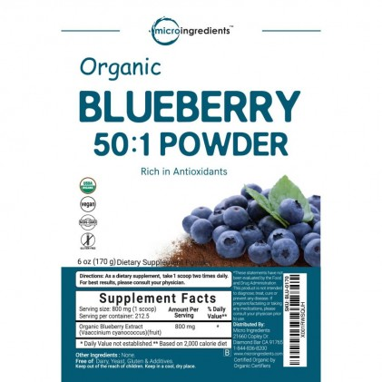 Bột việt quất hữu cơ Micro Ingredients Organic Blueberry 50:1 Concentrate Powder 2