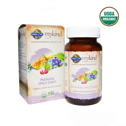 Vitamin cho phụ nữ mang thai & cho con bú hữu cơ Mykind Organics, Prenatal Once Daily, 90 viên 1