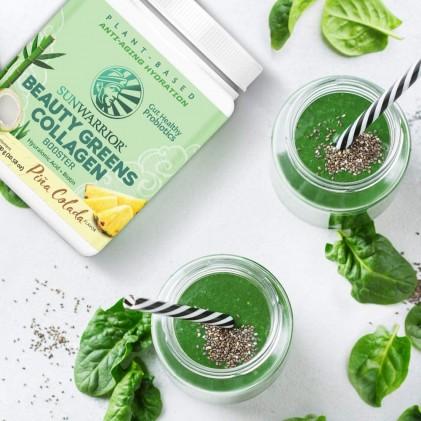 Bột tăng cường collagen với nhiều rau xanh & lợi khuẩn Sunwarrior Beauty Greens Collagen Booster 2