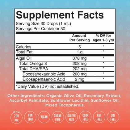 Omega 3 thuần chay từ tảo cho bé sơ sinh & trẻ em 0-3 tuổi Mary Ruth's Infant & Toddler Omega-3 Liquid Drops 2