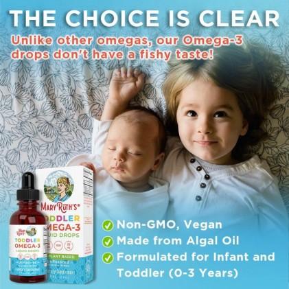 Omega 3 thuần chay từ tảo cho bé sơ sinh & trẻ em 0-3 tuổi Mary Ruth's Infant & Toddler Omega-3 Liquid Drops 5