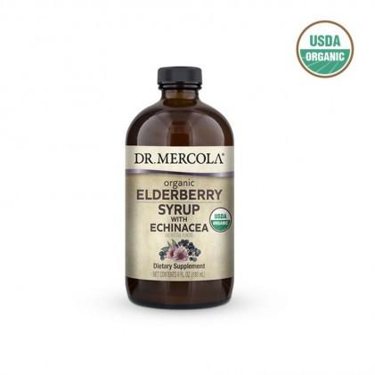 Siro cây cơm cháy & hoa cúc tím hữu cơ Dr Mercola Organic Elderberry Syrup with Echinacea 1