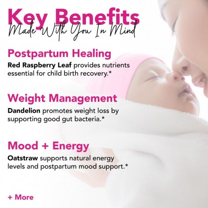 Trà phục hồi cơ thể sau sinh hữu cơ Pink Stork Postpartum Recovery Tea (30 cốc) 2