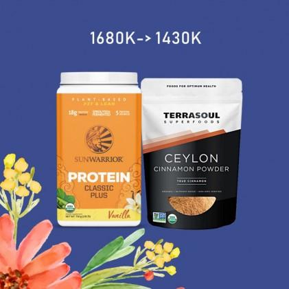 COMBO Protein Classic Plus Sunwarrior & Bột quế ceylon hữu cơ Terrasoul CEYLON CINNAMON POWDER 1