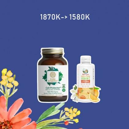 COMBO Liều cao vitamin C Mary Ruth's Megadose Vitamin C Liposomal & Viên uống bảo vệ tế bào, chậm lão hóa Pure Synergy CELL PROTECTOR™ 1