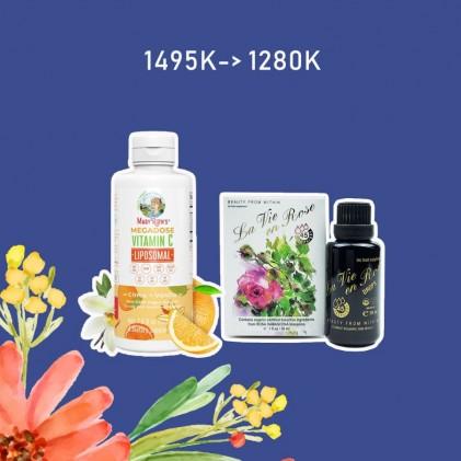 COMBO Liều cao vitamin C Mary Ruth's Megadose Vitamin C Liposomal & Nước uống hoa hồng La Vie en Rose Drops Ecomaats 1