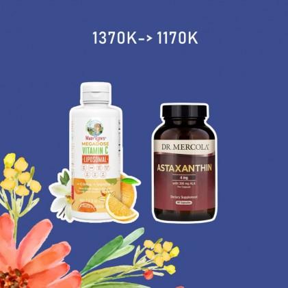 COMBO Liều cao vitamin C Mary Ruth's Megadose Vitamin C Liposomal & Astaxanthin Dr Mercola 1