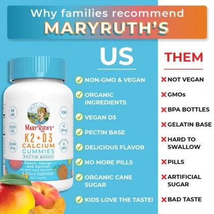Viên kẹo nhai bổ sung vitamin D3, K2 và canxi Mary Ruth's 2