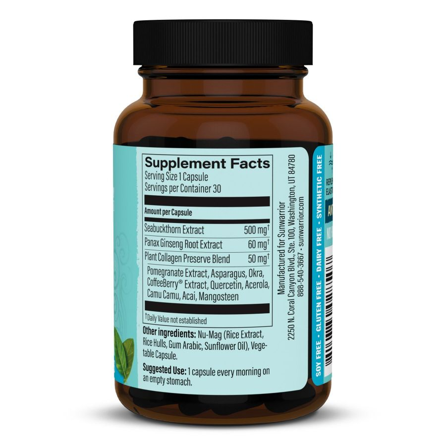 Viên uống chống nắng, bảo vệ & khôi phục collagen Sunwarrior Vegan Collagen Capsules 10