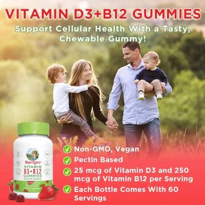 Vitamin D3-B12 Mary Ruth's dạng kẹo nhai, 60 viên vị dâu tây 4