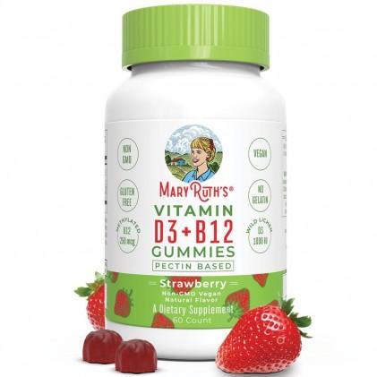 Vitamin D3-B12 Mary Ruth's dạng kẹo nhai, 60 viên vị dâu tây 1