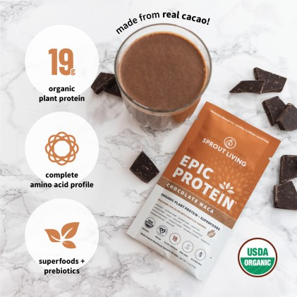 Protein thực vật & siêu thực phẩm Sprout Living, Epic Protein, Organic Plant Protein, Chocolate Maca 3