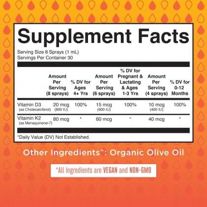 Xịt vitamin D3+K2 hữu cơ Mary Ruth's 30ml 2